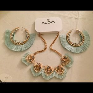 ALDO Necklace & Earring Fringe Bling Green Aqua